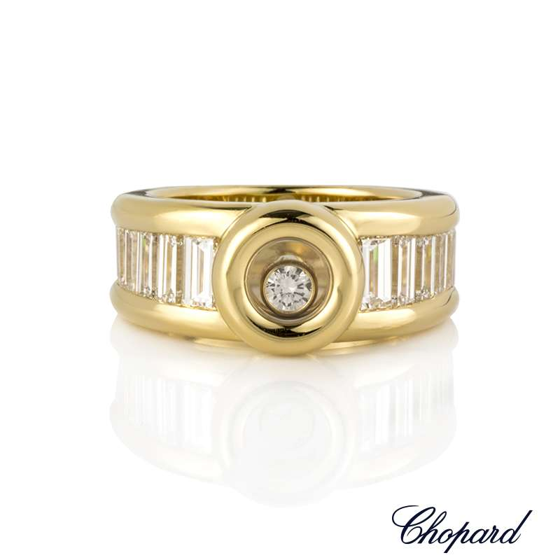 Chopard 18k Yellow Gold Happy Diamond Ring 82/2211-0105